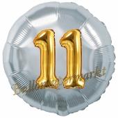 Runder Luftballon Jumbo Zahl 11, silber-gold mit 3D-Effekt zum 11. Geburtstag