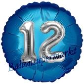 Runder Luftballon Jumbo Zahl 12, blau-silber mit 3D-Effekt zum 12. Geburtstag