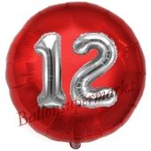 Runder Luftballon Jumbo Zahl 12, rot-silber mit 3D-Effekt zum 12. Geburtstag