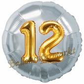 Runder Luftballon Jumbo Zahl 12, silber-gold mit 3D-Effekt zum 12. Geburtstag