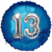 Runder Luftballon Jumbo Zahl 13, blau-silber mit 3D-Effekt zum 13. Geburtstag