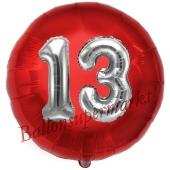 Runder Luftballon Jumbo Zahl 13, rot-silber mit 3D-Effekt zum 13. Geburtstag