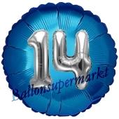 Runder Luftballon Jumbo Zahl 14, blau-silber mit 3D-Effekt zum 14. Geburtstag