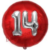 Runder Luftballon Jumbo Zahl 14, rot-silber mit 3D-Effekt zum 14. Geburtstag