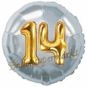 Runder Luftballon Jumbo Zahl 14, silber-gold mit 3D-Effekt zum 14. Geburtstag