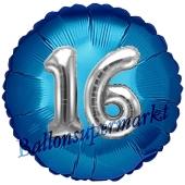 Runder Luftballon Jumbo Zahl 16, blau-silber mit 3D-Effekt zum 16. Geburtstag