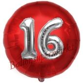 Runder Luftballon Jumbo Zahl 16, rot-silber mit 3D-Effekt zum 16. Geburtstag