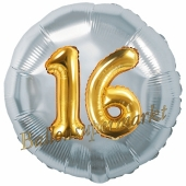 Runder Luftballon Jumbo Zahl 16, silber-gold mit 3D-Effekt zum 16. Geburtstag