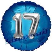 Runder Luftballon Jumbo Zahl 17, blau-silber mit 3D-Effekt zum 17. Geburtstag