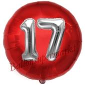 Runder Luftballon Jumbo Zahl 17, rot-silber mit 3D-Effekt zum 17. Geburtstag
