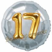 Runder Luftballon Jumbo Zahl 17, silber-gold mit 3D-Effekt zum 17. Geburtstag