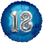 Runder Luftballon Jumbo Zahl 18, blau-silber mit 3D-Effekt zum 18. Geburtstag