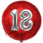 Runder Luftballon Jumbo Zahl 18, rot-silber mit 3D-Effekt zum 18. Geburtstag