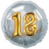 Runder Luftballon Jumbo Zahl 18, silber-gold mit 3D-Effekt zum 18. Geburtstag