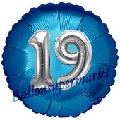 Runder Luftballon Jumbo Zahl 19, blau-silber mit 3D-Effekt zum 19. Geburtstag