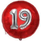 Runder Luftballon Jumbo Zahl 19, rot-silber mit 3D-Effekt zum 19. Geburtstag