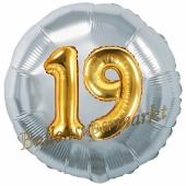 Runder Luftballon Jumbo Zahl 19, silber-gold mit 3D-Effekt zum 19. Geburtstag