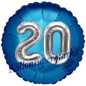 Runder Luftballon Jumbo Zahl 20, blau-silber mit 3D-Effekt zum 20. Geburtstag