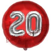 Runder Luftballon Jumbo Zahl 20, rot-silber mit 3D-Effekt zum 20. Geburtstag