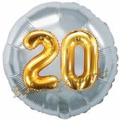 Runder Luftballon Jumbo Zahl 20, silber-gold mit 3D-Effekt zum 20. Geburtstag