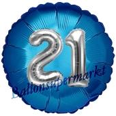 Runder Luftballon Jumbo Zahl 21, blau-silber mit 3D-Effekt zum 21. Geburtstag