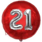 Runder Luftballon Jumbo Zahl 21, rot-silber mit 3D-Effekt zum 21. Geburtstag