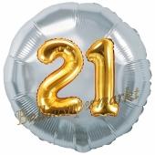 Runder Luftballon Jumbo Zahl 21, silber-gold mit 3D-Effekt zum 21. Geburtstag