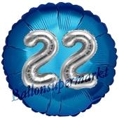 Runder Luftballon Jumbo Zahl 22, blau-silber mit 3D-Effekt zum 22. Geburtstag