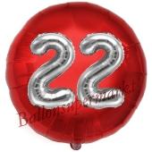 Runder Luftballon Jumbo Zahl 22, rot-silber mit 3D-Effekt zum 22. Geburtstag