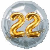 Runder Luftballon Jumbo Zahl 22, silber-gold mit 3D-Effekt zum 22. Geburtstag