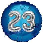Runder Luftballon Jumbo Zahl 23, blau-silber mit 3D-Effekt zum 23. Geburtstag
