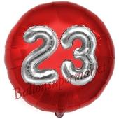 Runder Luftballon Jumbo Zahl 23, rot-silber mit 3D-Effekt zum 23. Geburtstag