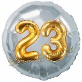 Runder Luftballon Jumbo Zahl 23, silber-gold mit 3D-Effekt zum 23. Geburtstag