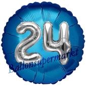 Runder Luftballon Jumbo Zahl 24, blau-silber mit 3D-Effekt zum 24. Geburtstag