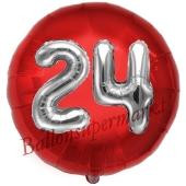 Runder Luftballon Jumbo Zahl 24, rot-silber mit 3D-Effekt zum 24. Geburtstag