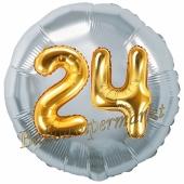 Runder Luftballon Jumbo Zahl 24, silber-gold mit 3D-Effekt zum 24. Geburtstag