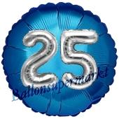 Runder Luftballon Jumbo Zahl 25, blau-silber mit 3D-Effekt zum 25. Geburtstag