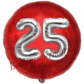 Runder Luftballon Jumbo Zahl 25, rot-silber mit 3D-Effekt zum 25. Geburtstag