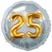 Runder Luftballon Jumbo Zahl 25, silber-gold mit 3D-Effekt zum 25. Geburtstag