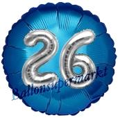 Runder Luftballon Jumbo Zahl 26, blau-silber mit 3D-Effekt zum 26. Geburtstag
