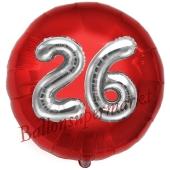 Runder Luftballon Jumbo Zahl 26, rot-silber mit 3D-Effekt zum 26. Geburtstag