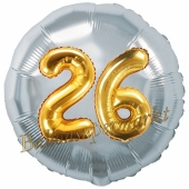 Runder Luftballon Jumbo Zahl 26, silber-gold mit 3D-Effekt zum 26. Geburtstag