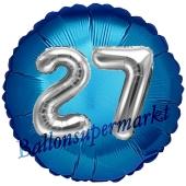 Runder Luftballon Jumbo Zahl 27, blau-silber mit 3D-Effekt zum 27. Geburtstag