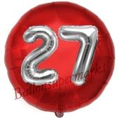 Runder Luftballon Jumbo Zahl 27, rot-silber mit 3D-Effekt zum 27. Geburtstag