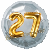 Runder Luftballon Jumbo Zahl 27, silber-gold mit 3D-Effekt zum 27. Geburtstag