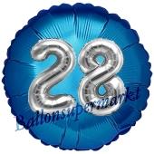 Runder Luftballon Jumbo Zahl 28, blau-silber mit 3D-Effekt zum 28. Geburtstag