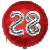 Runder Luftballon Jumbo Zahl 28, rot-silber mit 3D-Effekt zum 28. Geburtstag