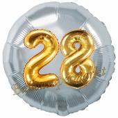 Runder Luftballon Jumbo Zahl 28, silber-gold mit 3D-Effekt zum 28. Geburtstag