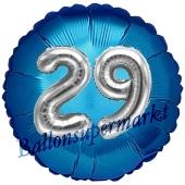 Runder Luftballon Jumbo Zahl 29, blau-silber mit 3D-Effekt zum 29. Geburtstag