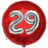 Runder Luftballon Jumbo Zahl 29, rot-silber mit 3D-Effekt zum 29. Geburtstag